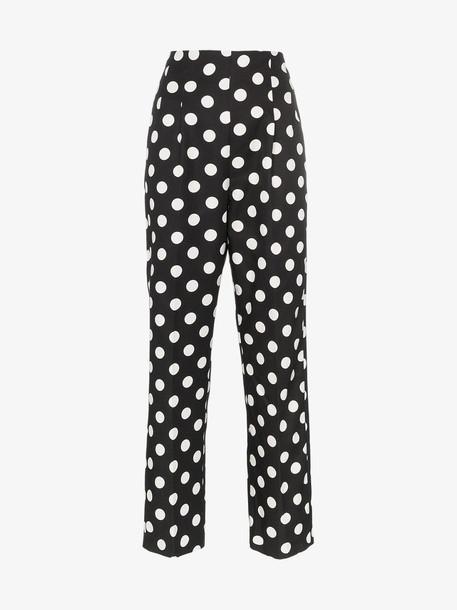 Rebecca De Ravenel polka dot silk trousers in black / white