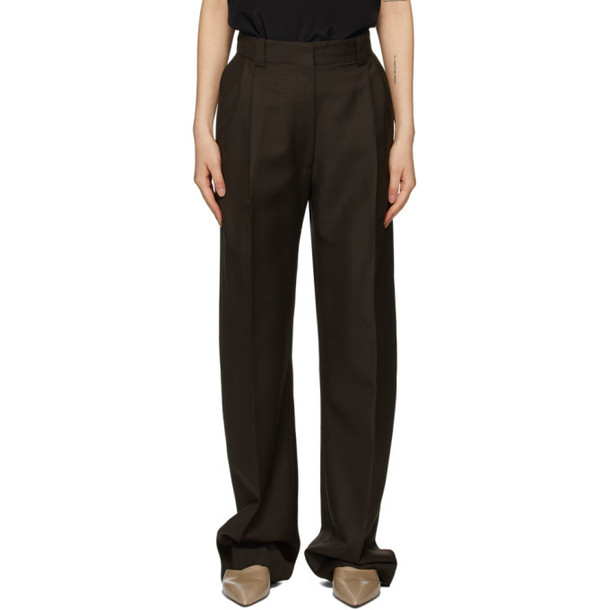 Eftychia Brown Basic Centre Seam Trousers