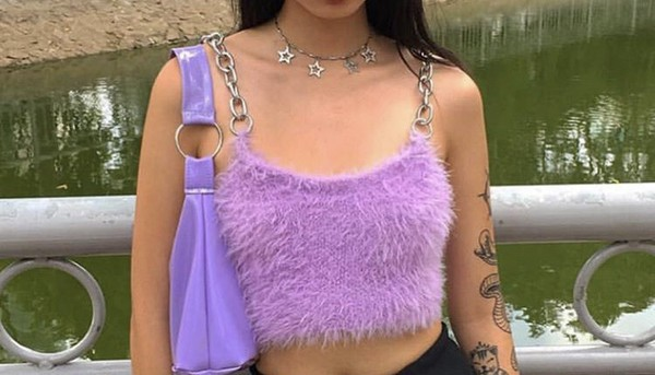 tank top fluffy purple