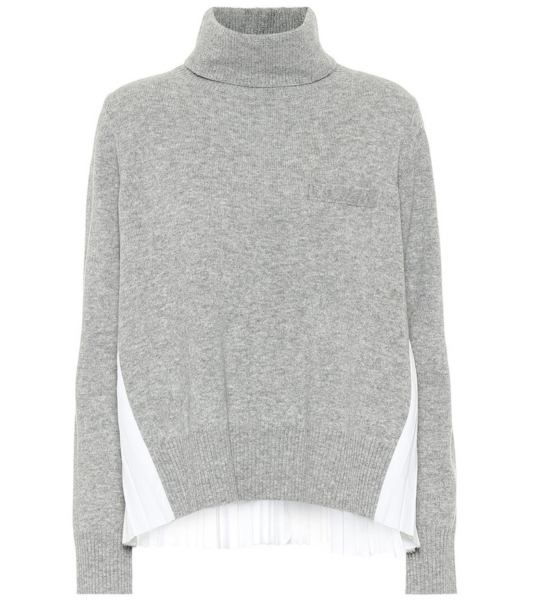 Sacai Turtleneck wool sweater in grey