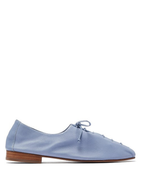 Hereu - Plegada Lace Up Leather Flats - Womens - Light Blue