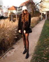 coat,black coat,black boots,lace up boots,tights,leopard print,mini dress,beanie,black bag
