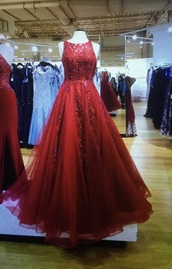 dress,red prom dress,ball gown prom dresses,lace dress,tulle dress,camille la vie
