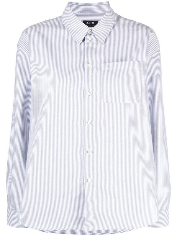 A.P.C. stripe-print cotton shirt in blue