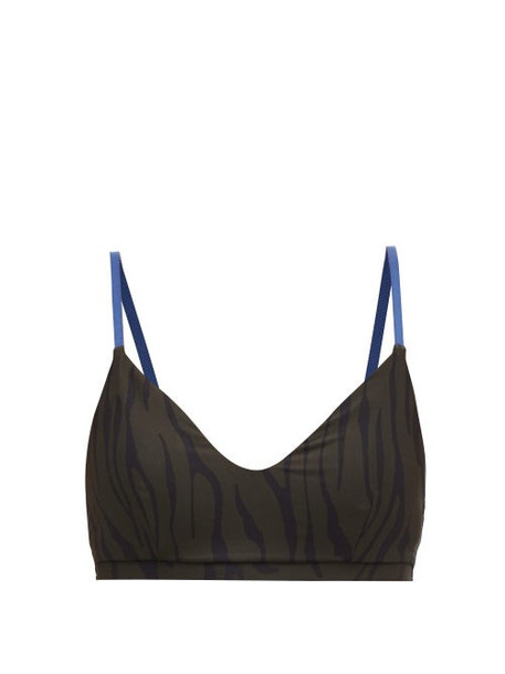 The Upside - Midnight Tiger Animal Print Sports Bra - Womens - Black Khaki