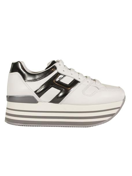 Hogan Logo Platform Sneakers in silver / white
