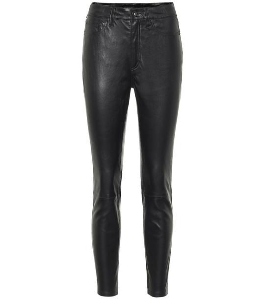Rag & Bone Nina high-rise leather pants in black