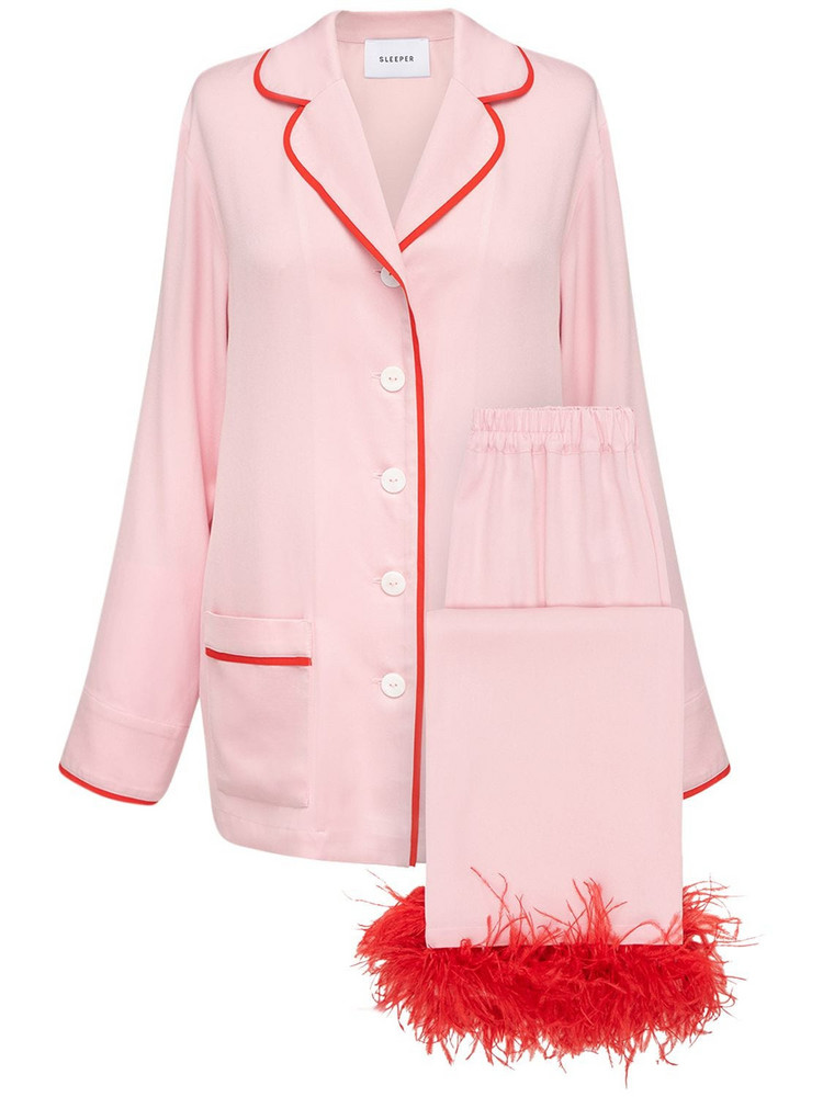 SLEEPER Party Pajama Set W/ Feathers in pink