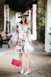 fit fab fun mom,blogger,dress,shoes,bag,hat,sunglasses,jewels,floral dress,summer dress,summer outfits,ysl bag