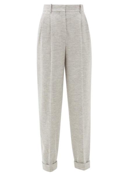 Roksanda - Venezio Wool-jersey Pleated Trousers - Womens - Grey