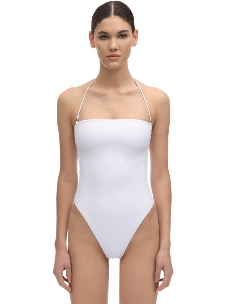DOS GARDENIAS Pipeline Strapless Lycra Swimsuit in white