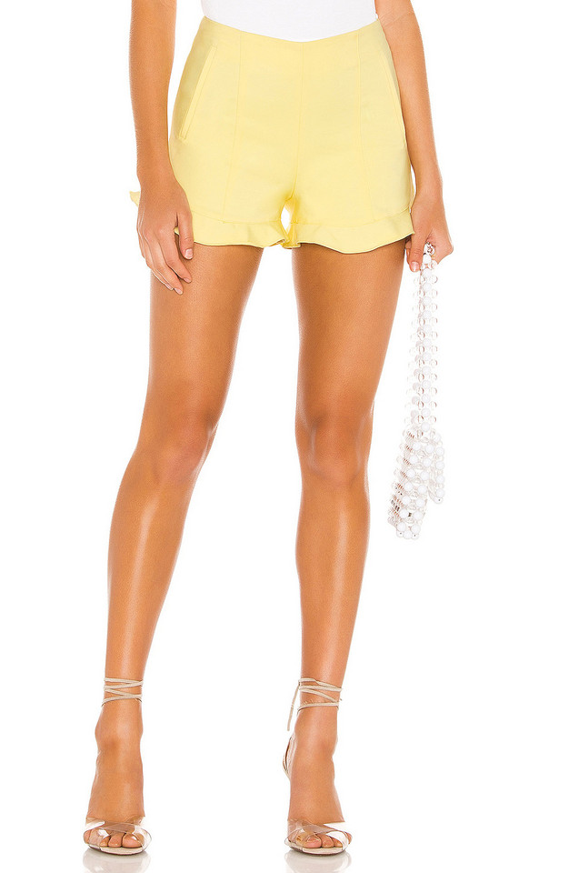 1. STATE Ruffle Hem Short in yellow