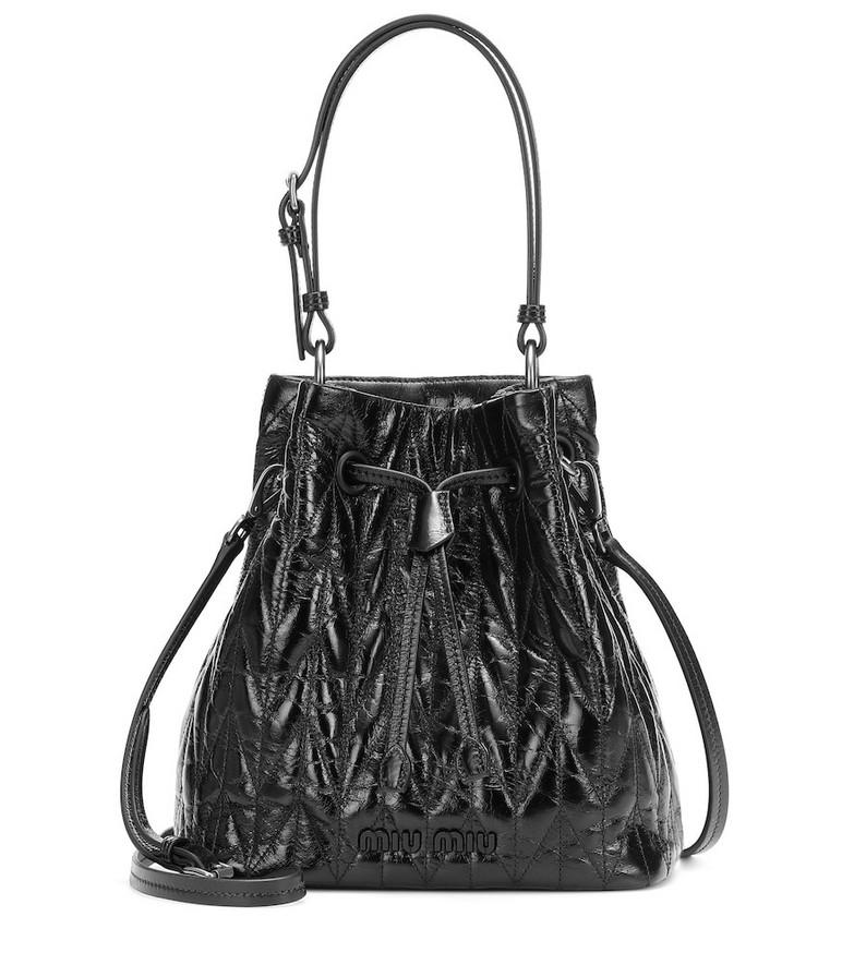 Miu Miu Quilted leather bucket bag in black