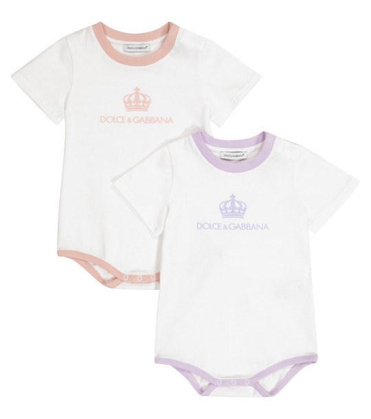 Dolce & Gabbana Kids Baby set of 2 cotton playsuits in white