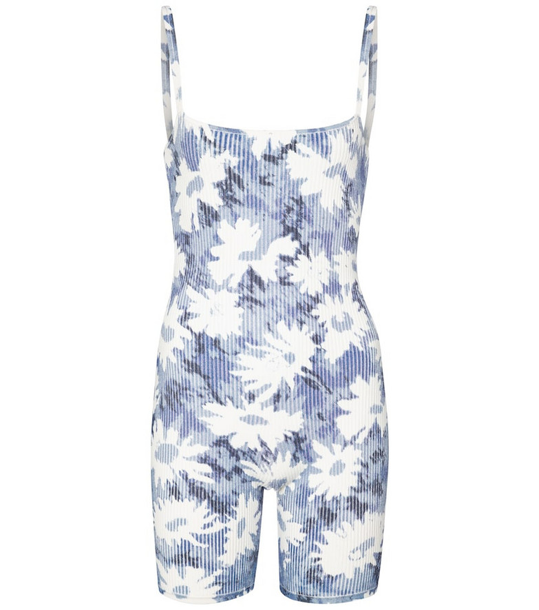 SIR Freya floral jersey playsuit in blue