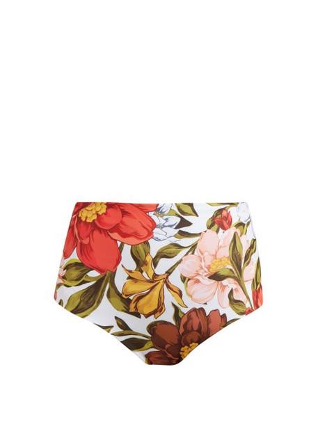Mara Hoffman - Lydia Floral Print High Rise Bikini Briefs - Womens - White Multi