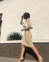 bag,shoulder bag,midi dress,knitwear,sandal heels