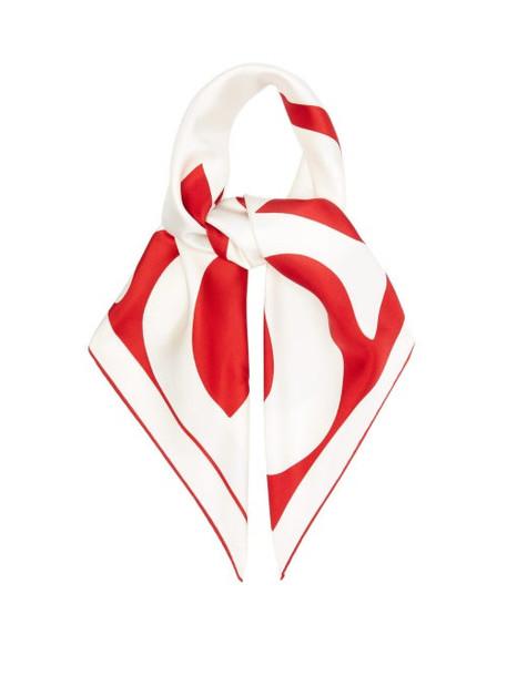 Burberry - Logo-print Silk-twill Scarf - Womens - Red Multi