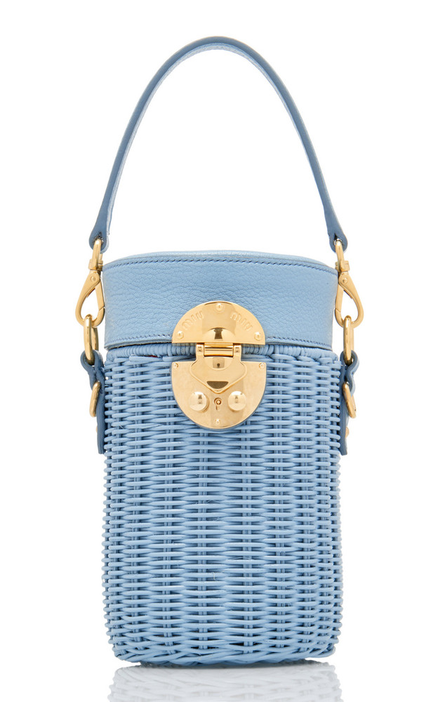 Miu Miu Midollino Leather-Trimmed Rattan Bucket Bag in blue