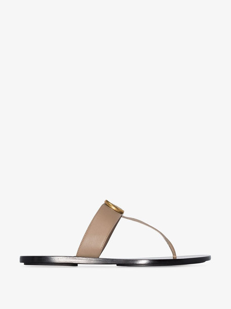 Gucci brown Marmont GG leather sandals