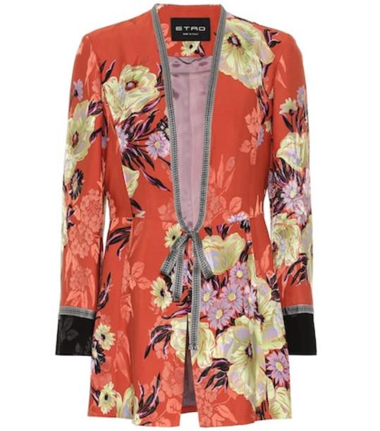 Etro Floral silk-blend jacquard jacket in orange