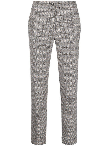 Etro check-print cropped trousers in black