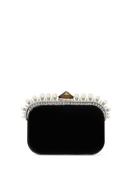 Jimmy Choo Cloud pearl-trim clutch in black