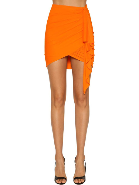 ALEXANDRE VAUTHIER Ruched Stretch Jersey Mini Skirt in orange