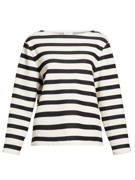 Saint Laurent - Striped Jersey Sweatshirt - Womens - White Black