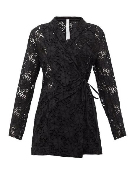 Merlette - Zahara Double Breasted Cotton Eyelet Jacket - Womens - Black