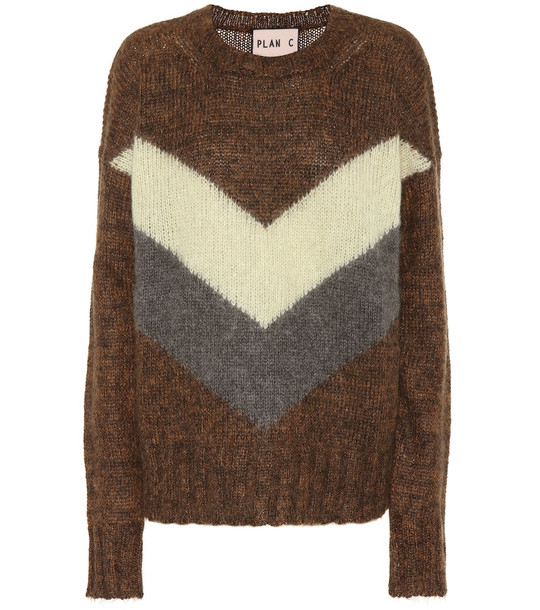 Plan C Mohair and wool-blend sweater in brown