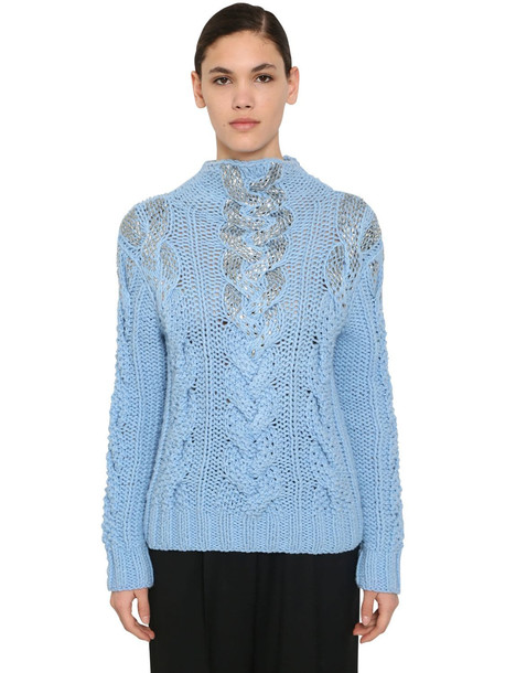 ERMANNO SCERVINO Embellished Wool & Acrylic Knit Sweater in blue