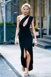 dress,model,gown,black dress,black,sandals,asymmetrical,asymmetrical dress,martha hunt