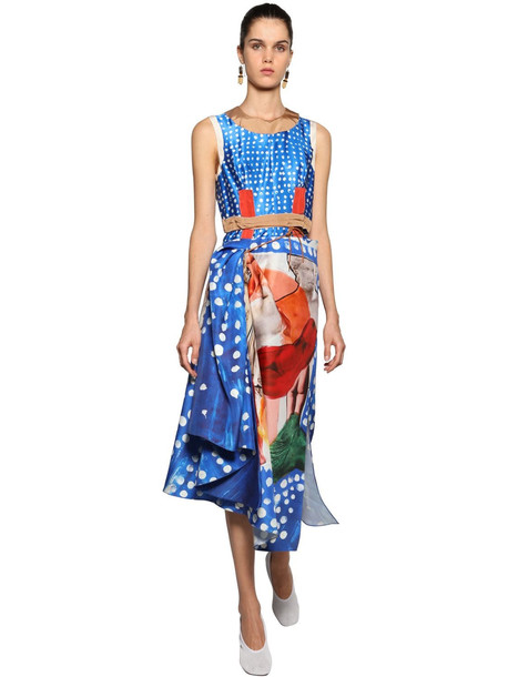 MARNI Printed Patchwork Midi Dress in blue / brown