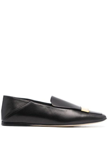 Sergio Rossi metal-plaque leather loafers in black