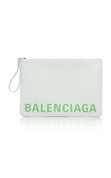 Balenciaga Printed Textured-Leather Pouch in white