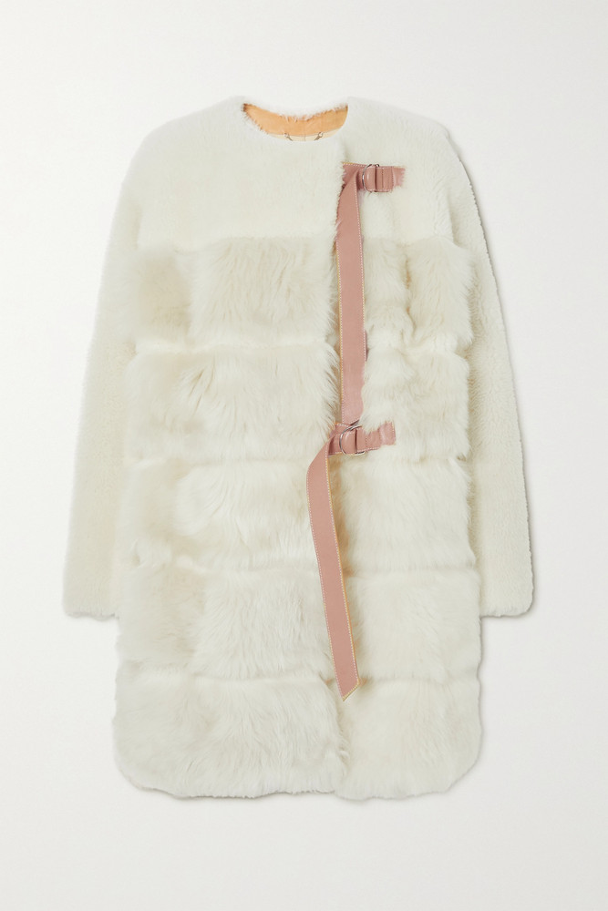 CHLOÉ CHLOÉ - Leather-trimmed Shearling Coat - White