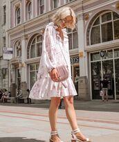 dress,floral dress,mini dress,white dress,h&m,white sandals,crossbody bag