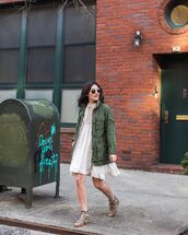 dress,mini dress,white dress,lace dress,army green jacket,sandals