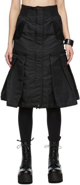 Sacai Green Nylon Paneled Skirt in khaki