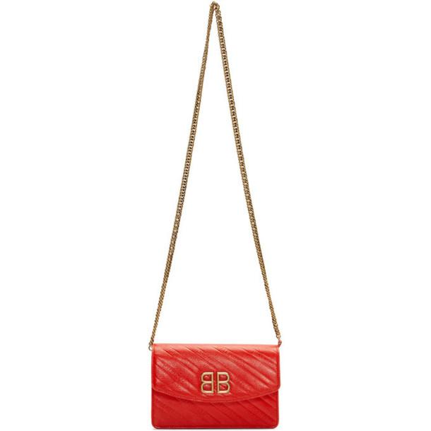 Balenciaga Red BB Wallet On Chain Bag