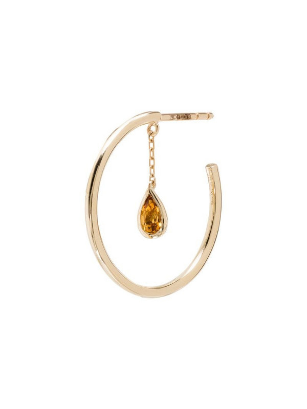 Yvonne Léon Creole Pampille 9kt citrine hoop earring in gold