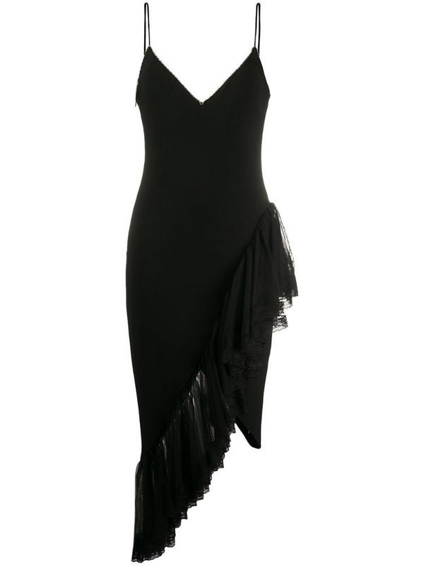 Amen asymmetric ruffled hem dress in black