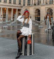 dress,white dress,shirt dress,black boots,tights,top,handbag,beret