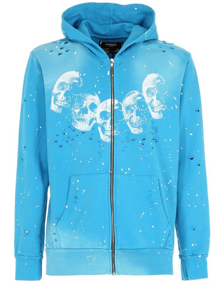 DOMREBEL Amigos Zip-up Sweatshirt Hoodie in blue