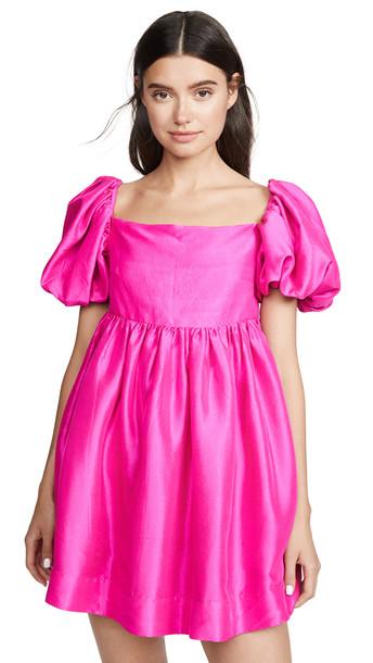 Azeeza Kam Puff Sleeve Mini Dress in magenta