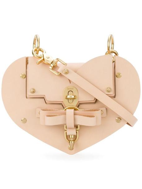 Niels Peeraer Saddle leather Heart handbag in pink