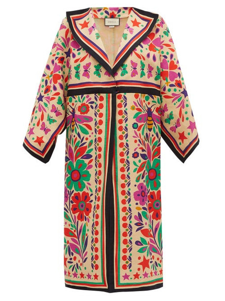 Gucci - Paradise Print Linen Blend Kimono Style Coat - Womens - Beige Multi
