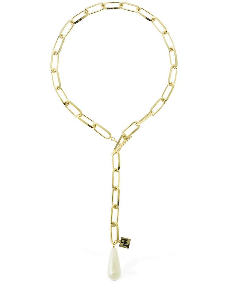 ROSANTICA Promessa Faux Pearl Chain Necklace in gold / white