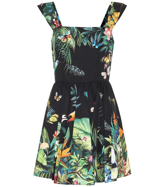 Dolce & Gabbana Printed cotton minidress in black